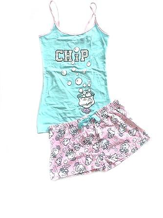 f0faa4d937562 Ladies Girls Beauty and The Beast PJ Set Pyjama Shorts   Top (M (12 ...