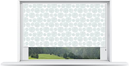 ShadePix Window Shade – Blackout Window Shade with Size 50 x 36 Nouveau Circles Lt Green