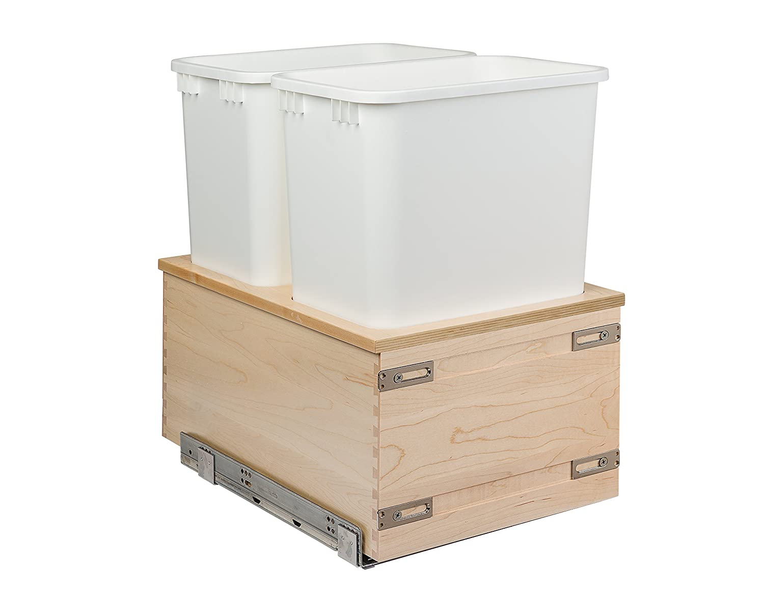 Century Components CASBM14PF Kitchen Pull Out Waste Bin Container - 34 Qt White Double - Baltic Birch - Blum Soft-Close 170 lb. MOVENTO 769 Slides, 14-7/8