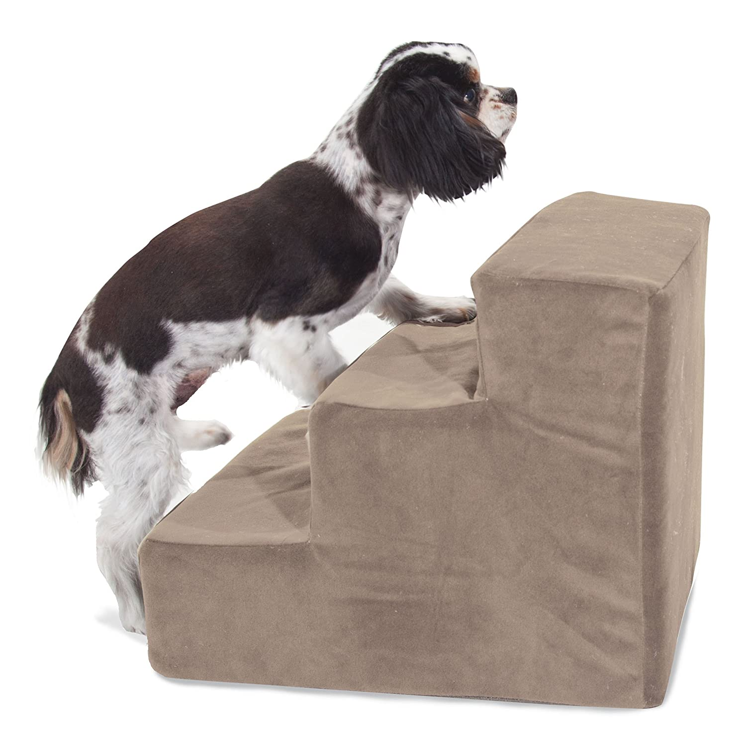 3 Step Stone Tan Suede Pet Stairs By Majestic Pet Products in neutral color