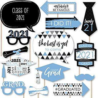product image for Big Dot of Happiness Light Blue Grad - Best is Yet to Come - Light Blue 2021 Graduation Party Photo Booth Props Kit - 20 Count