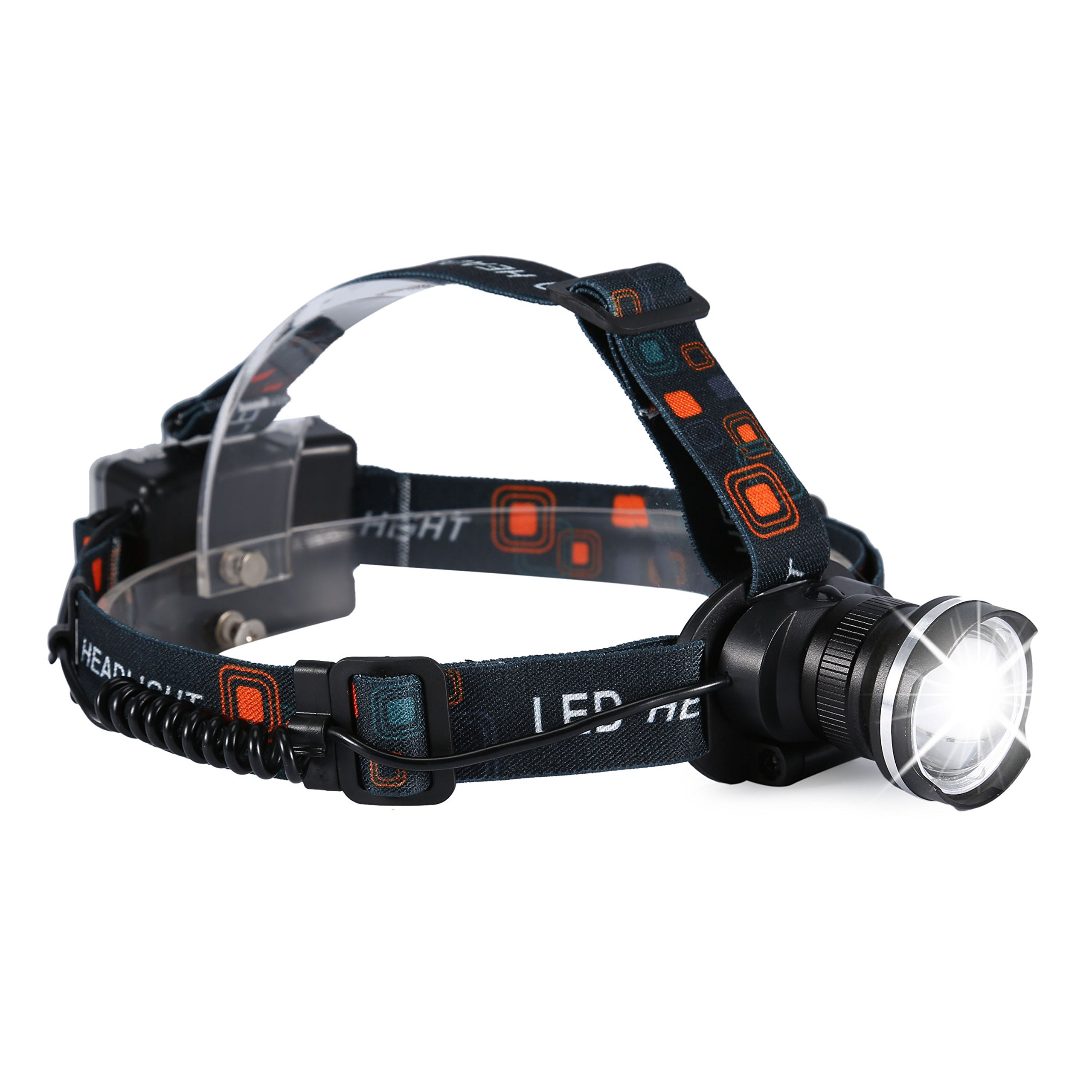 Zoomable LED Headlight, 3 Mode Head Torch, 90º Adjustable Headlamp Flashlight for Camping, Hiking, Fishing, Running