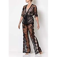 Millesime Conjunto de Pijama de Encaje de 3 piezas | Lujo Mujer Pantalones Mujer Tops Mujer Tank Top Camisetas Sin…