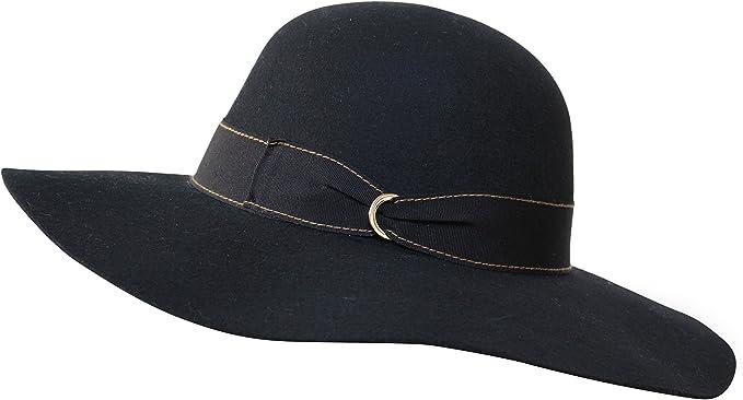 70s Clothes | Hippie Clothes & Outfits Borges & Scott B&S Premium Julia Ribbon - Wide Brim Ladies Hat - 100% Wool Felt with Ribbon Trim - Water Resistant £32.95 AT vintagedancer.com