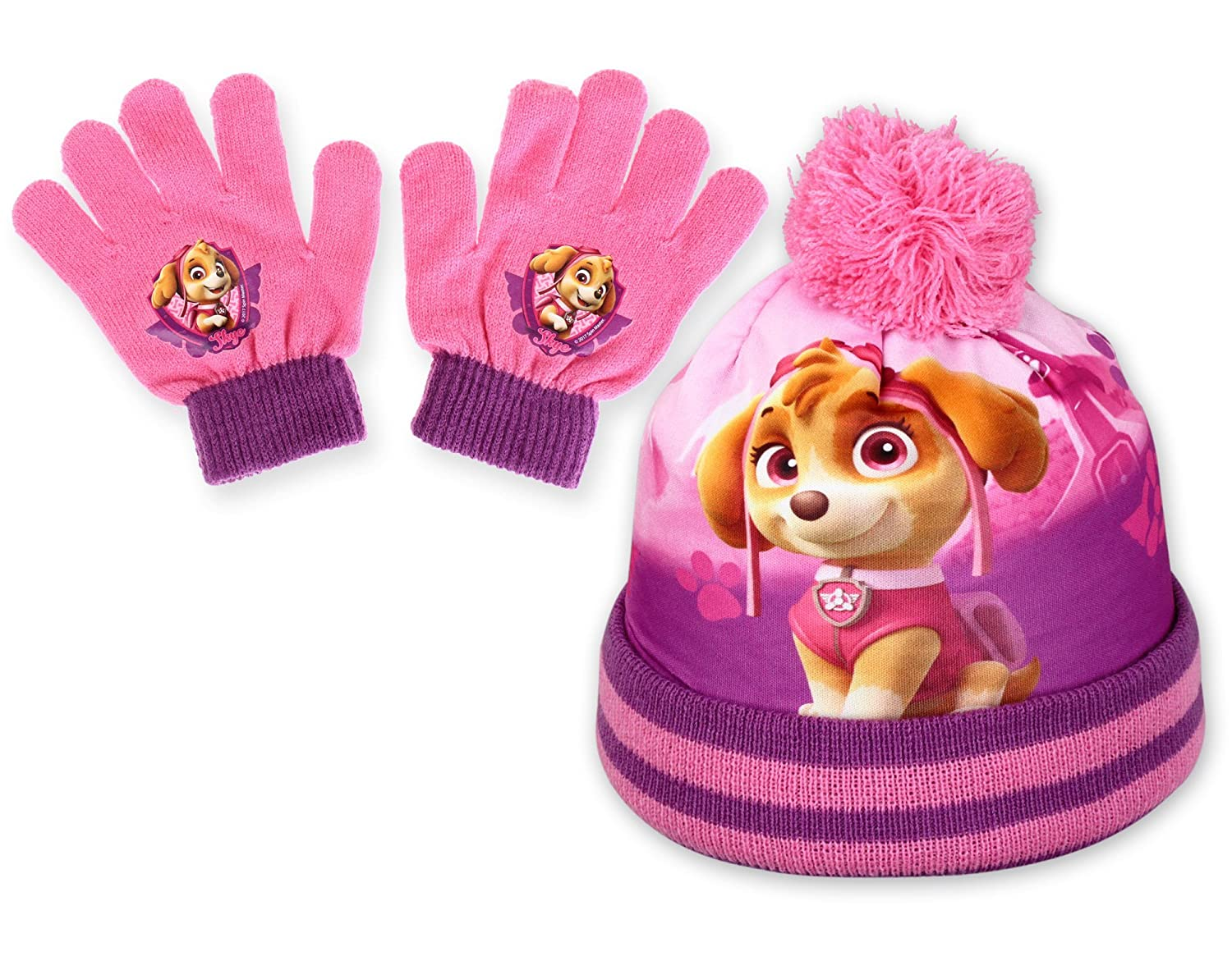 NEW GIRLS PAW PATROL WINTER HAT & GLOVE SET, GOOD QUALITY, OFFICIAL LICENCE PRODUCT