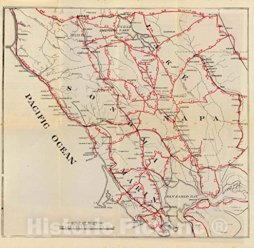 Antique Arizona Wagon Roads  Historic Map Artwork Wall Art Print Vintage
