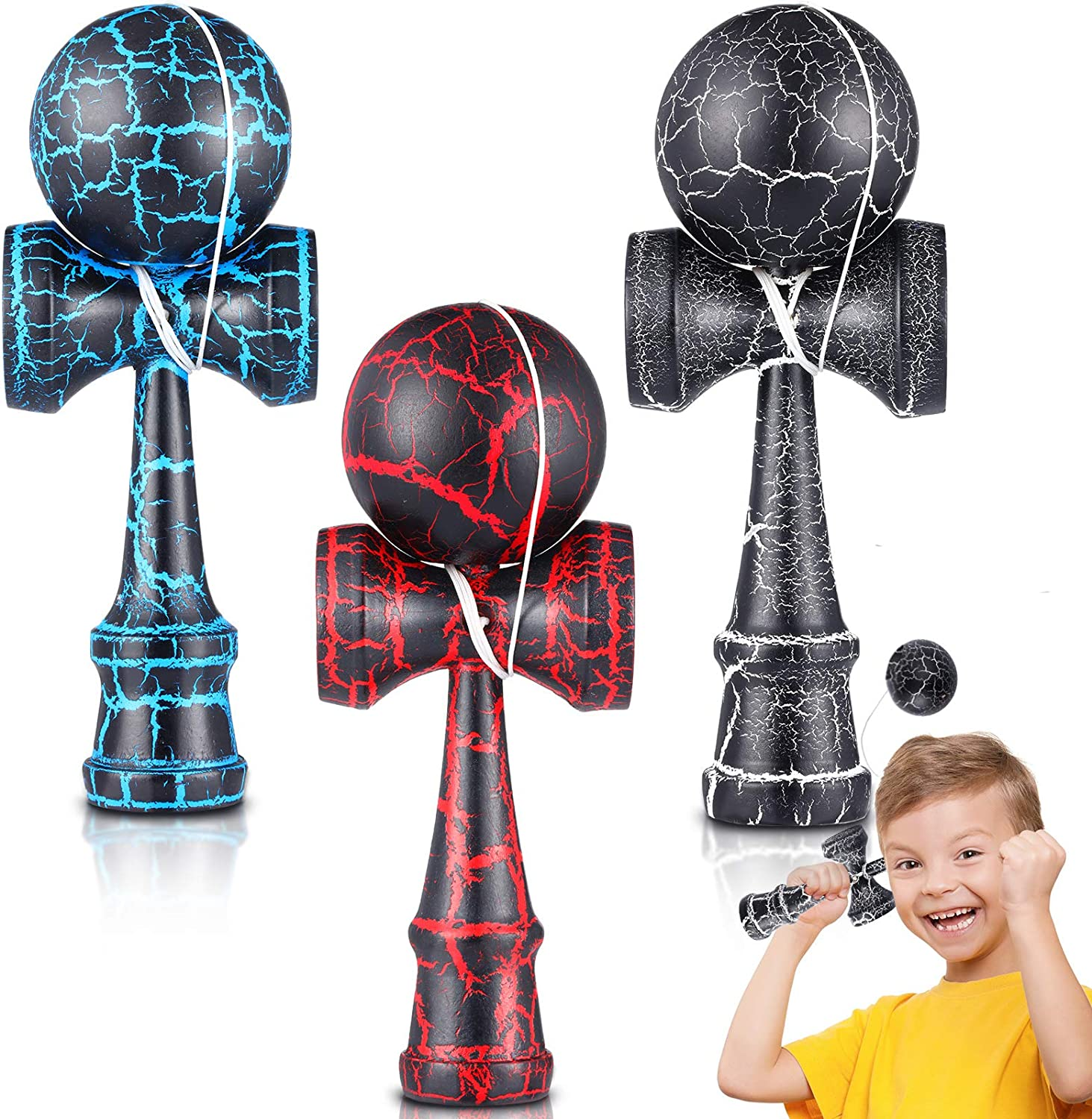 3 Pieces Crackle Kendama Wood KendamaToys with Extra String Catch Skill Toys for Adults and Teens to Enhance Hand and Eye Coordination, Black, Blue and Red