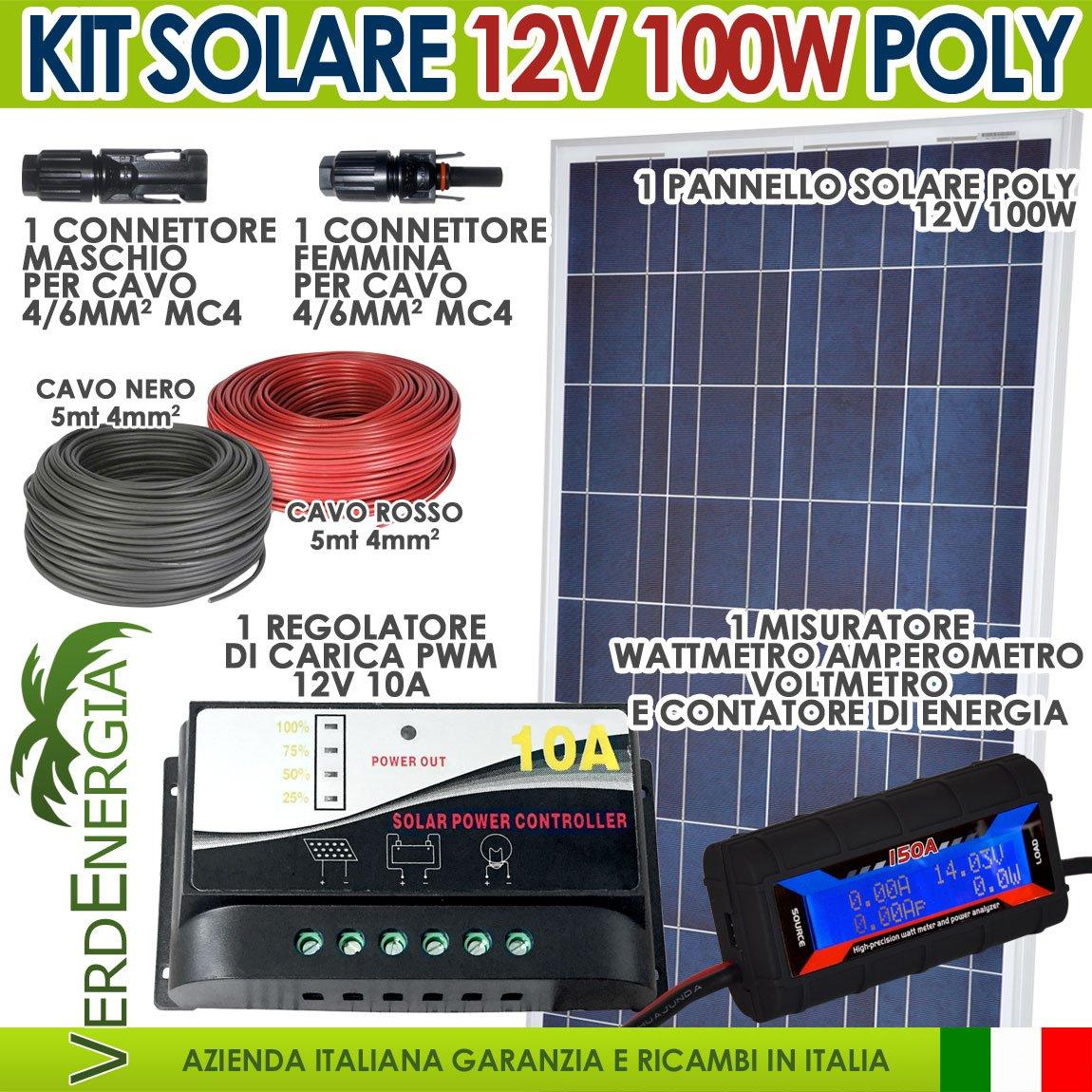 Kit solar 100W Solarmodul 12V POLYKRISTALLIN mit Regler PWM 10A 12V + Stecker MC4+ Kabel + Instrument Digital DC Multifunktions Watt/Ampere/Volt Boot Camper Hütte