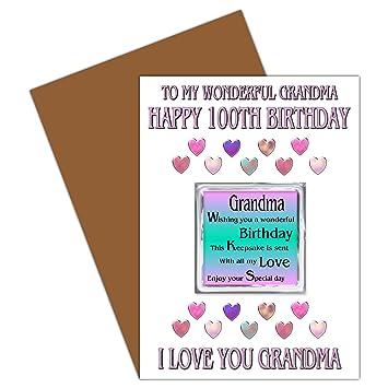 Oma 100th Geburtstagskarte Mit Entfernbarem Magnet 100 Bis Heute