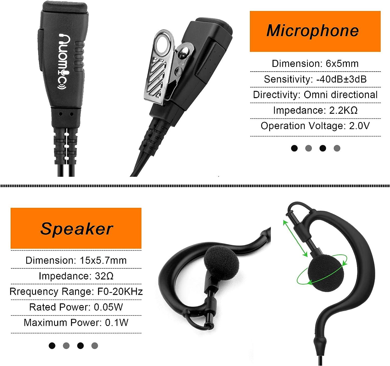 2 Pack Walkie Talkie Earpiece with Mic 2 Pin G-Shape Headset for Motorola Two Way Radio