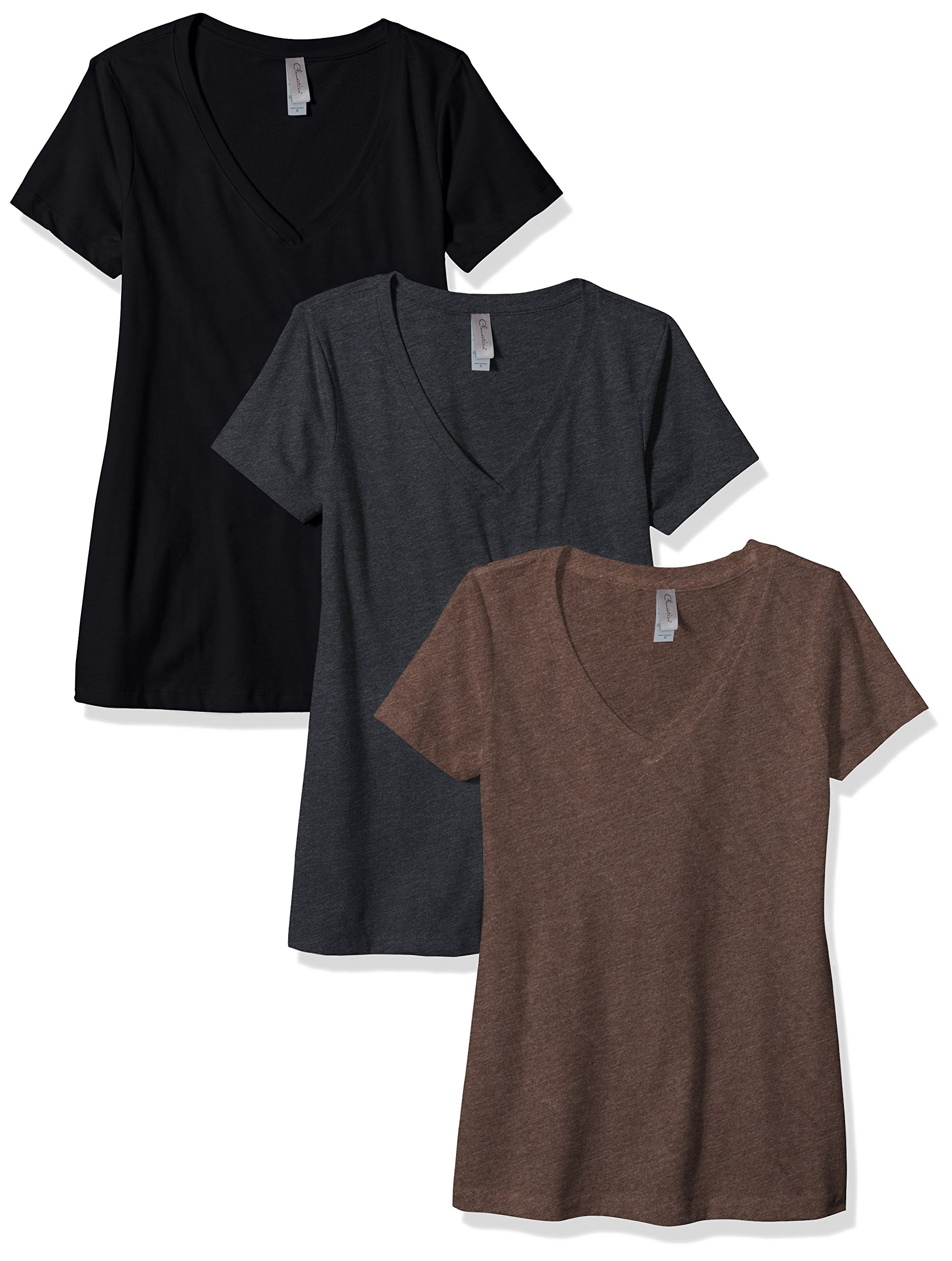 Clementine Apparel Women's Petite Plus Deep V Neck Tee (Pack of 3), Black/Charcoal/Espresso, L