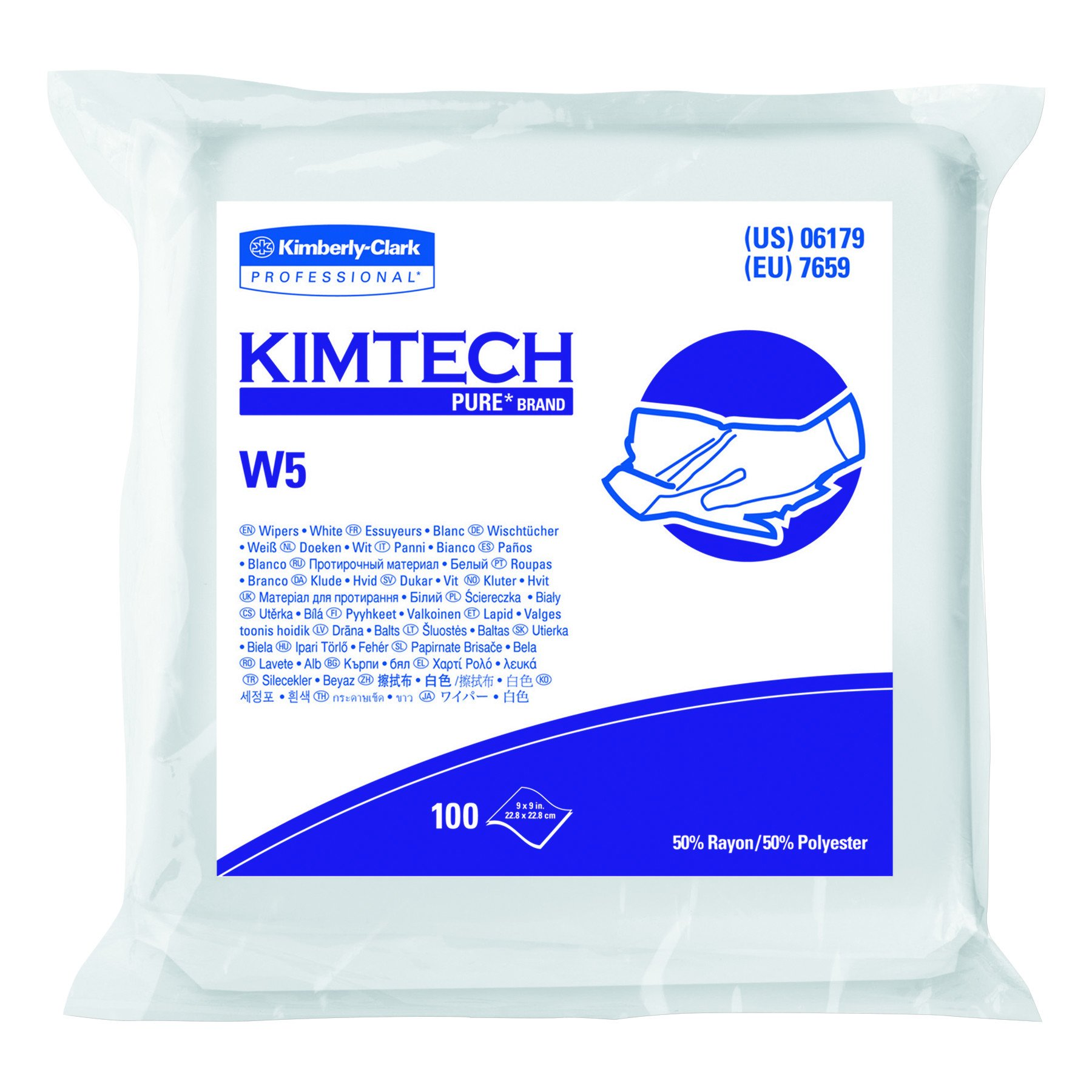 Kimberly-Clark Kimtech 06179 Pure Disposable Wiper with W5 Dry, 9'' Length x 9'' Width, White (5 Bags of 100)