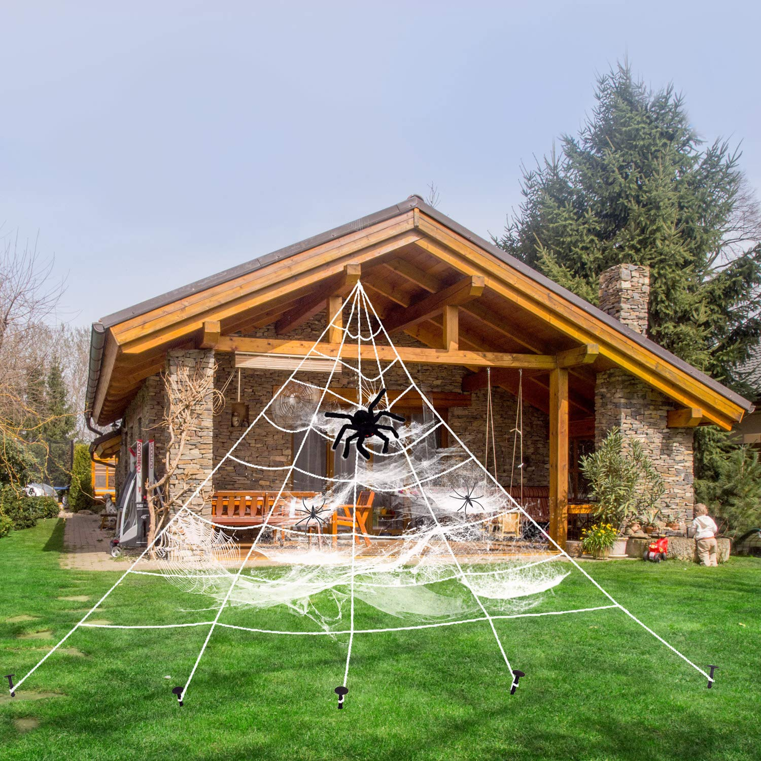 Love66 Giant Spider Web Halloween Decorations,with 3Pcs Extra Free Spiders and 1Pack Cobweb Set - White Stretch 16 Feet Web and The Hairy Red-Eyed Spider,Halloween Decor Outdoor Garden Yard Bar Party