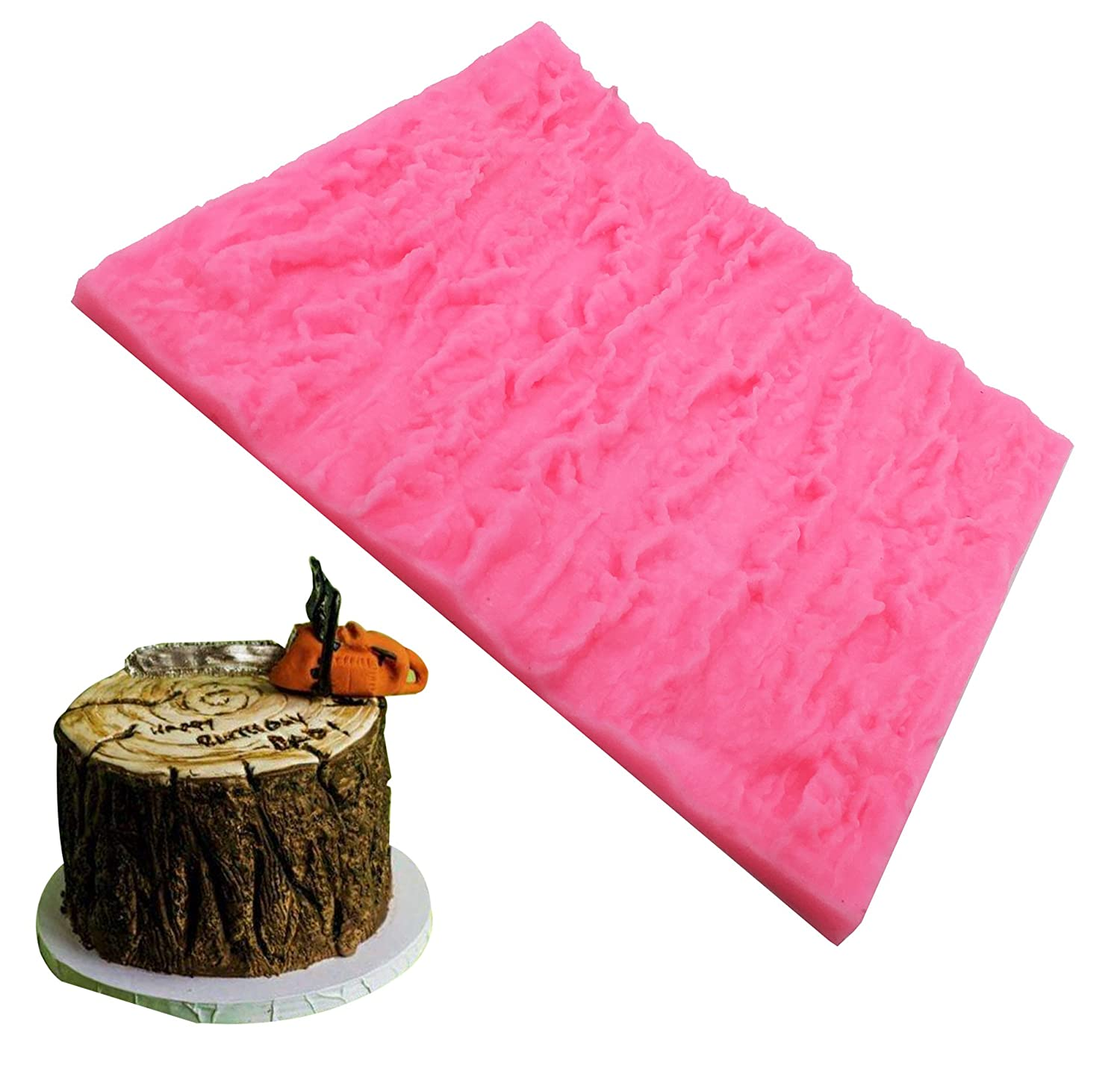 Fondant Impression Mat, Tree Bark Texture Design Silicone Cake Decorating Supplies for Cupcake Wedding Cake Decoration Somtis