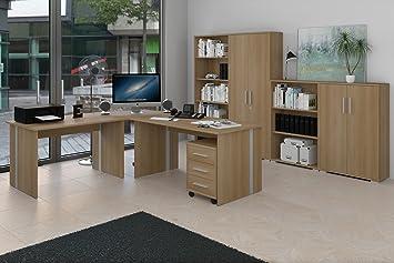 Arbeitszimmer Mobel Komplett Set Buro Buromobel In Buche Amazon De