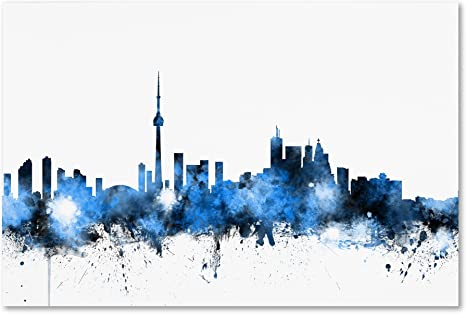 Amazon Com Toronto Canada Skyline By Michael Tompsett 12x19 Inch Canvas Wall Art Posters Prints