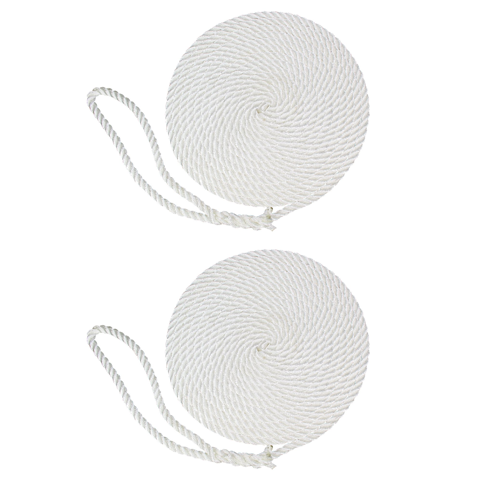SGT KNOTS Twisted Nylon Dockline (2-Pack, 1/2 in x 25 ft, White) - 3-Strand Twist Nylon Rope Docklines - Marine Ropes for Boat/Boats - Dock Lines by SGT KNOTS