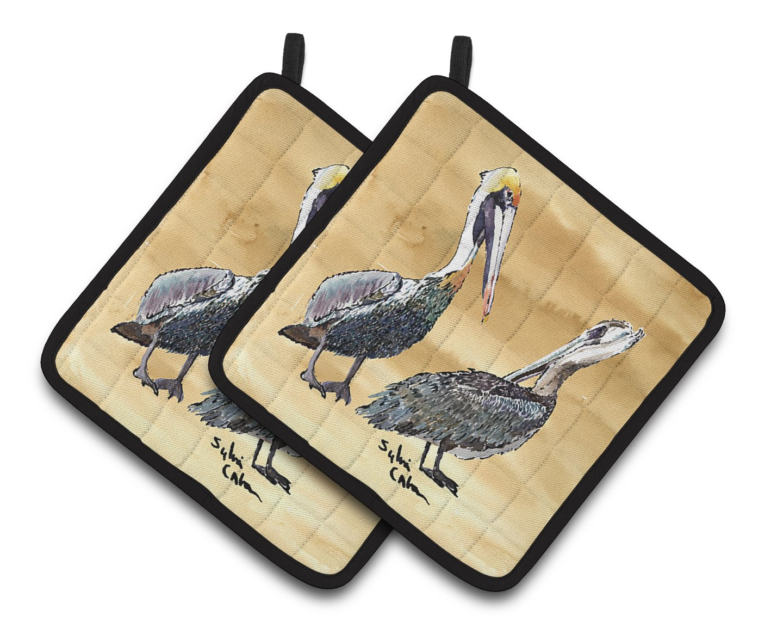 7.5HX7.5W Multicolor Carolines Treasures Pelican Pair of Pot Holders 8408PTHD