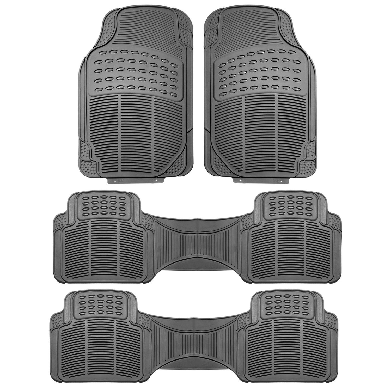 FH Group F11306GRAY-3ROW Floor Mat (Trimmable Heavy Duty 3 Row SUV All Weather 4pc Full Set - Gray) by FH Group