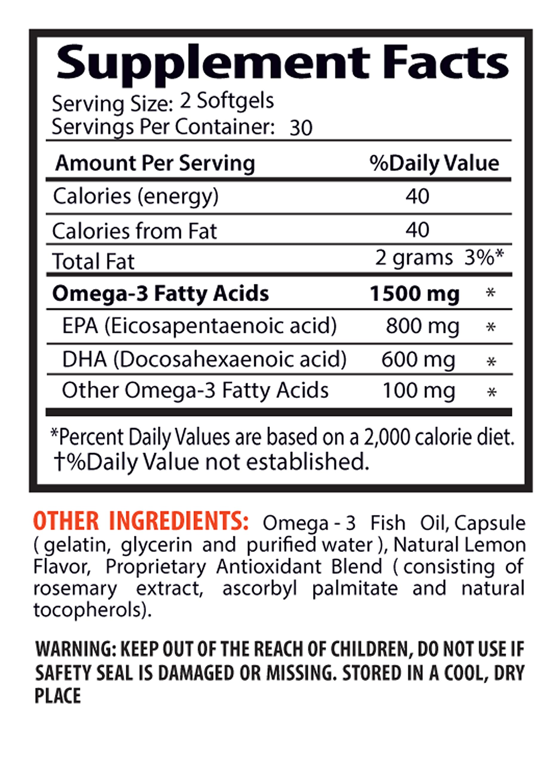 Immune support booster - OMEGA 8060 FATTY ACIDS 1500mg (Highly Concentrated Fish Oil - Pharmaceutical Grade) - Omega 3 high epa - 3 Bottles 180 Softgels by Sport Supplements (Image #2)