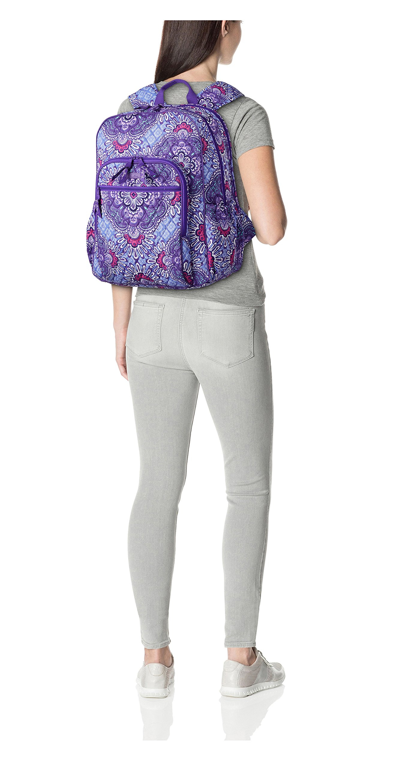 Women's Campus Tech Backpack, Signature Cotton, Lilac Tapestry by Vera Bradley (Image #2)