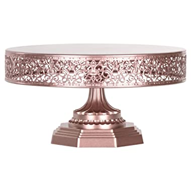 Amalfi Decor 12 Inch Cake Stand, Dessert Cupcake Pastry Candy Display Plate for Wedding Event Birthday Party, Round Metal Pedestal Holder, Rose Gold
