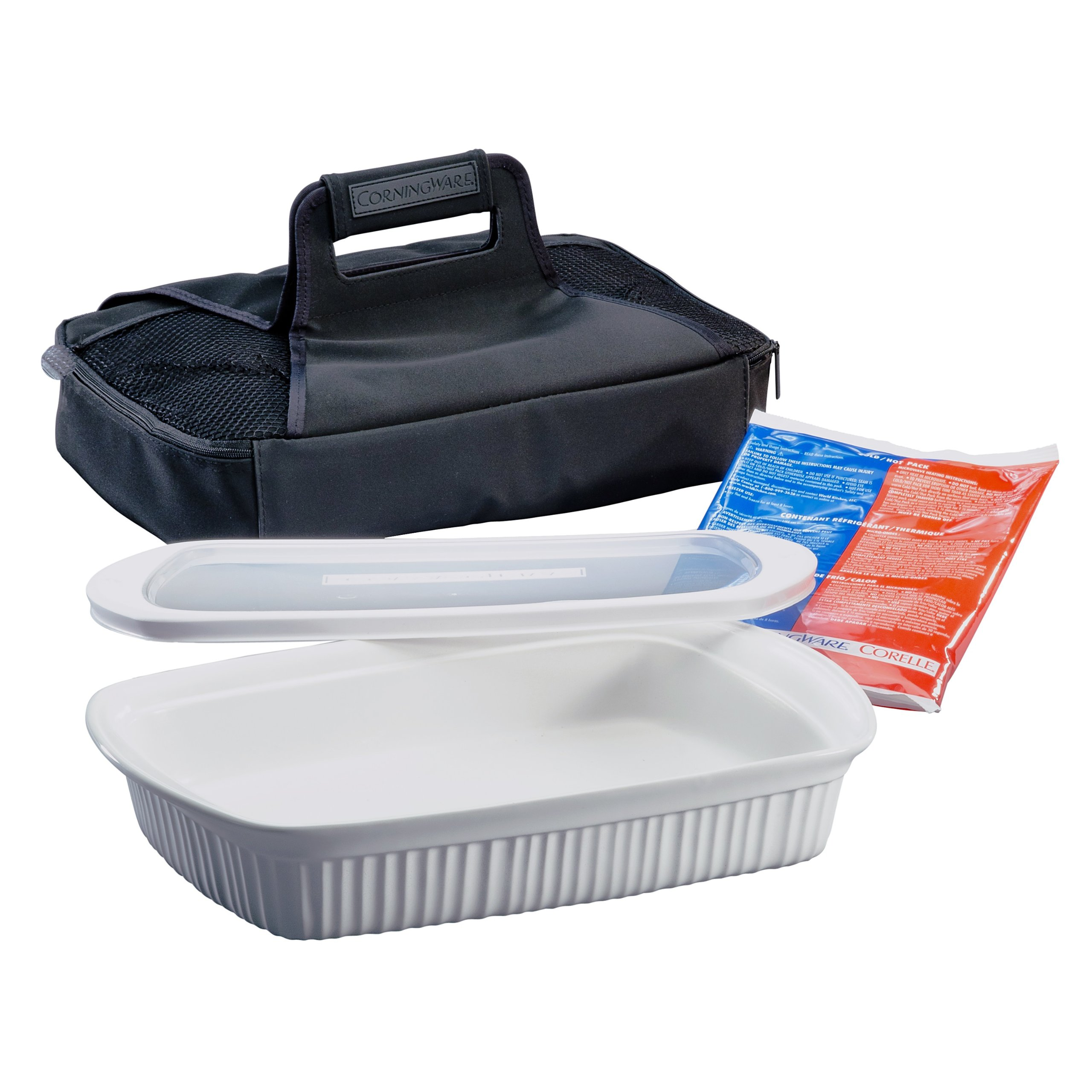 CorningWare French White Anyware 3-Quart Oblong Portable Dish, 4-Piece