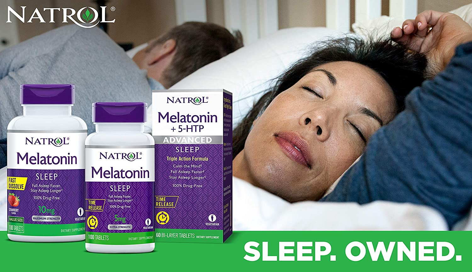 Natrol Melatonin Fast Dissolve Tablets, Helps You Fall Asleep Faster, Stay Asleep Longer, Easy to Take, Dissolves in Mouth, Faster Absorption, Maximum Strength, Strawberry Flavor, 5mg, 200 Count: Health & Personal Care