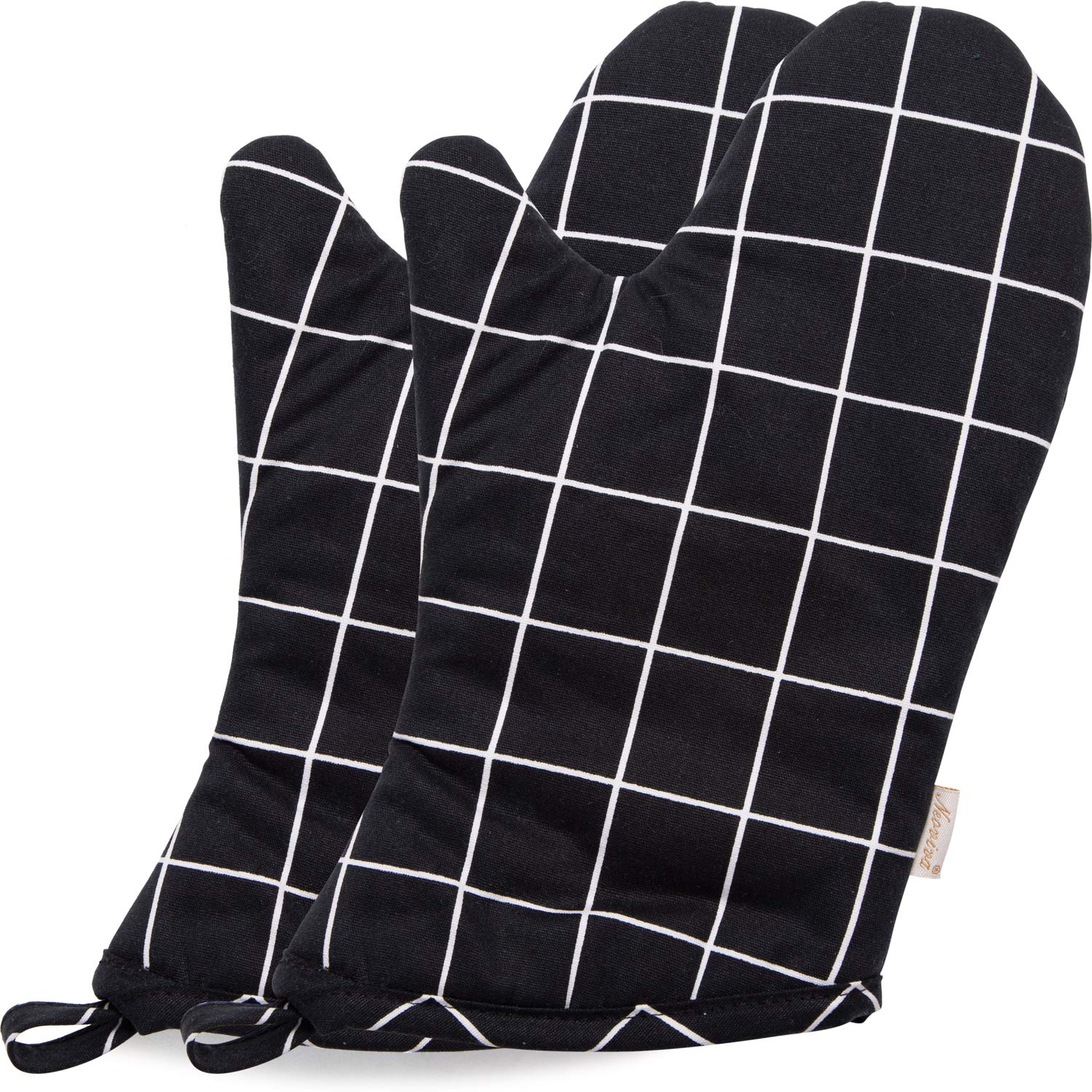 NEOVIVA Heat Resistant Oven Mitts for Everyday Kitchen, Cotton Oven Mitt Set of 2 for Adults, Nordic Plaid Pirate Black