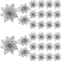 Sumind 30 Pezzi Glitter Poinsezia Fiori Albero di Natale Ornamenti Vacanze Matrimonio Decorazioni con Clip Metallica