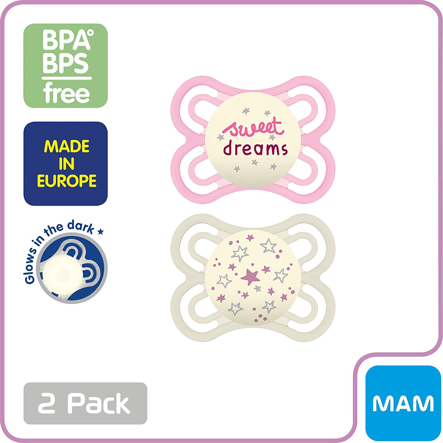 Baby Boy Pacifier MAM Pacifiers 0-6 Months Best Pacifier for Breastfed Babies 2 pack Glow in the Dark Pacifiers MAM Perfect Night Pacifiers