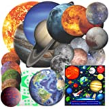 Solar System for Kids Glow in The Dark Planets and Stars for Ceiling, Wall Planet Stickers, Space Decor All Glowing Planets D