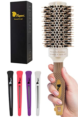 Fagaci Round Brush for Blow Drying with Natural Boar Bristle, Round Brush   Nano Technology Ceramic + Ionic for Hair Styling, Drying, Healthy Hair and Add Volume   Hair Brush + 4 Styling Clips