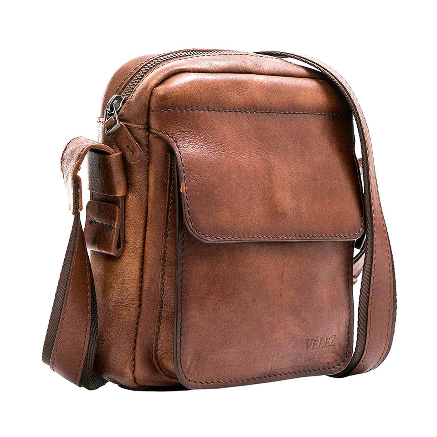 Amazon.com | VÉLEZ 20136 Men Genuine Leather Crossbody Bag | Bandolera De Cuero Black | Backpacks
