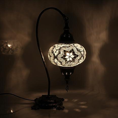 Impresionante Lámpara De Mesa De Mosaico Turco Con Diseño De ...