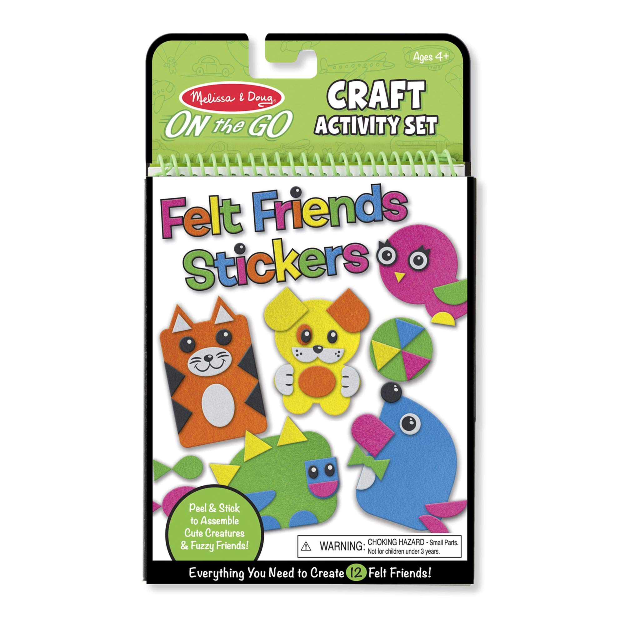 Melissa & Doug On-the-Go Felt Friends Craft Activity Set, Step-By-Step Illustrated Instructions, Easy to Store, 188 Felt Stickers, 10'''' H x 6'''' W x 0.4'''' L