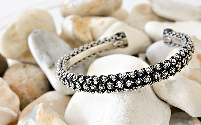 Sterling Silver Heavy Bangle Torque Adjustable Bracelet 35gms 925