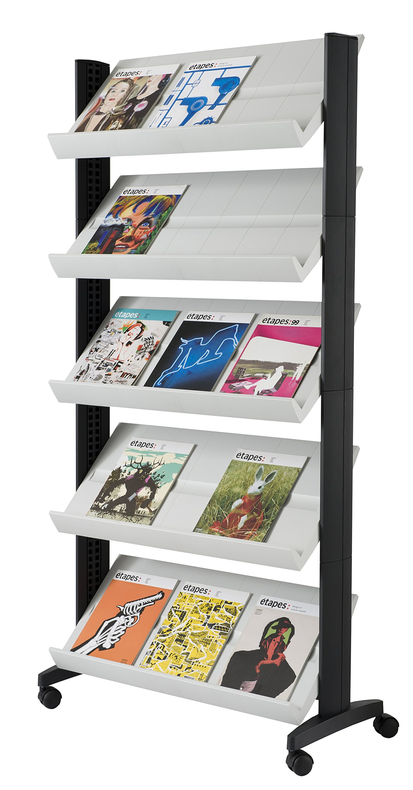 PaperFlow Single Sided Mobile Literature Display, 5 Shelves, 33.67x15.17x66 Inches, Silver (255N.35)