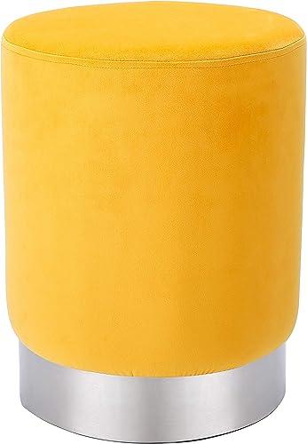 BIRDROCK HOME Round Yellow Velvet Ottoman Foot Stool Soft Compact Padded Stool
