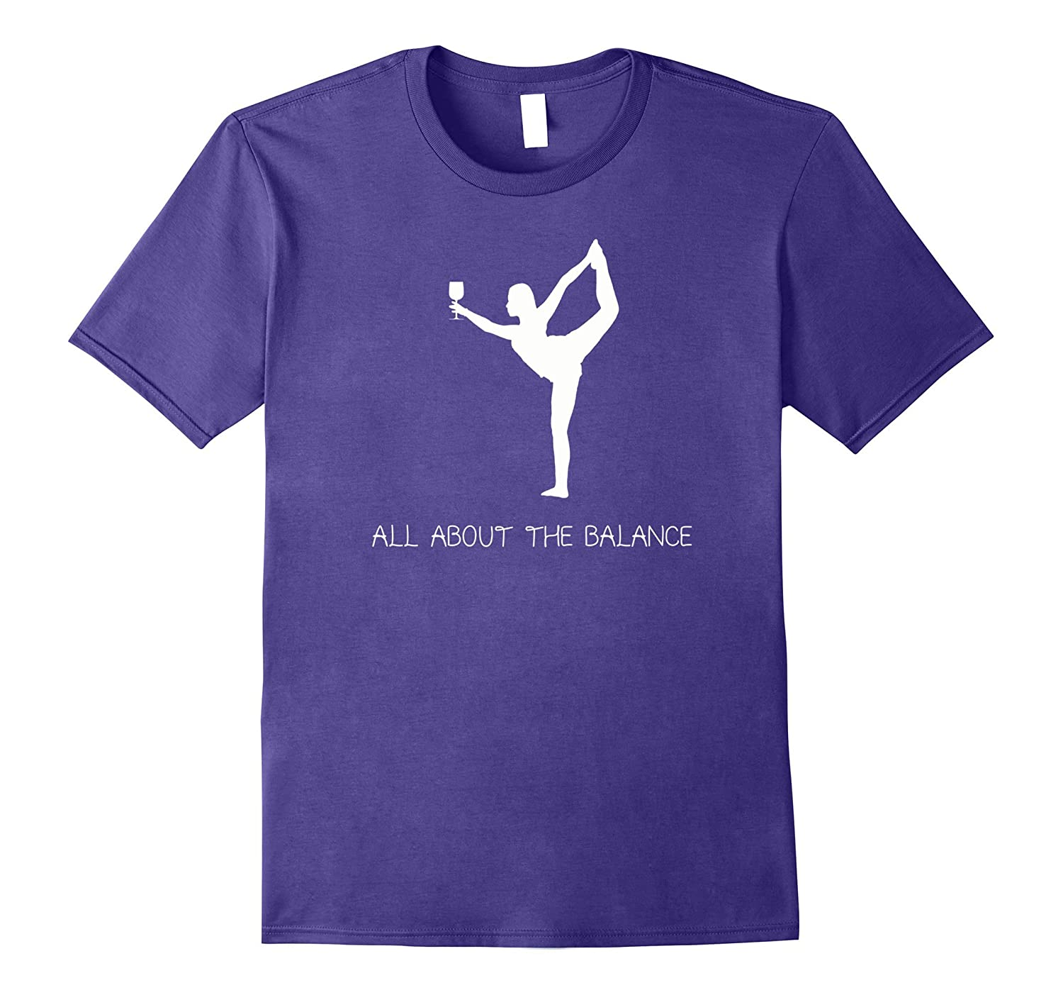 Yoga Wine Balancing T-Shirt - Yogi with Wine Glass Shirt-TH
