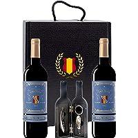 Caja Regalo Vino Tinto - Pack de 2 Botellas Ribera del Duero D.Origen Cune + Kit Accesorios con Abrecorchos Aireador y…
