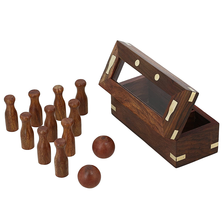 Set von 6 - Handgemachte indische Mini Bowling Set - Reisen Spiele - Tischspiele für Kinder
