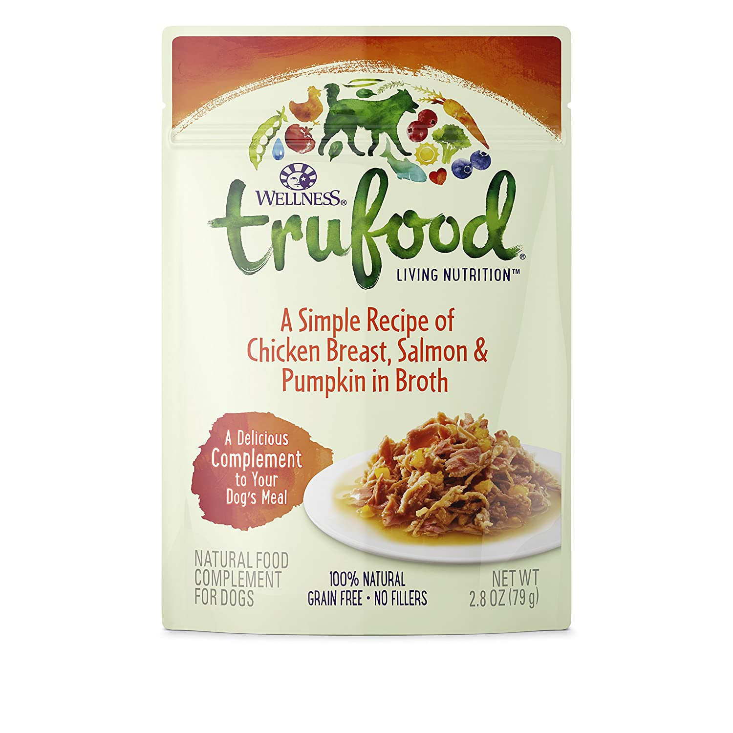 Wellness Trufood Complements Natural Grain Free Wet Raw Dog Food, Chicken, Salmon Pumpkin, 2.8-Ounce Pouch Pack Of 24