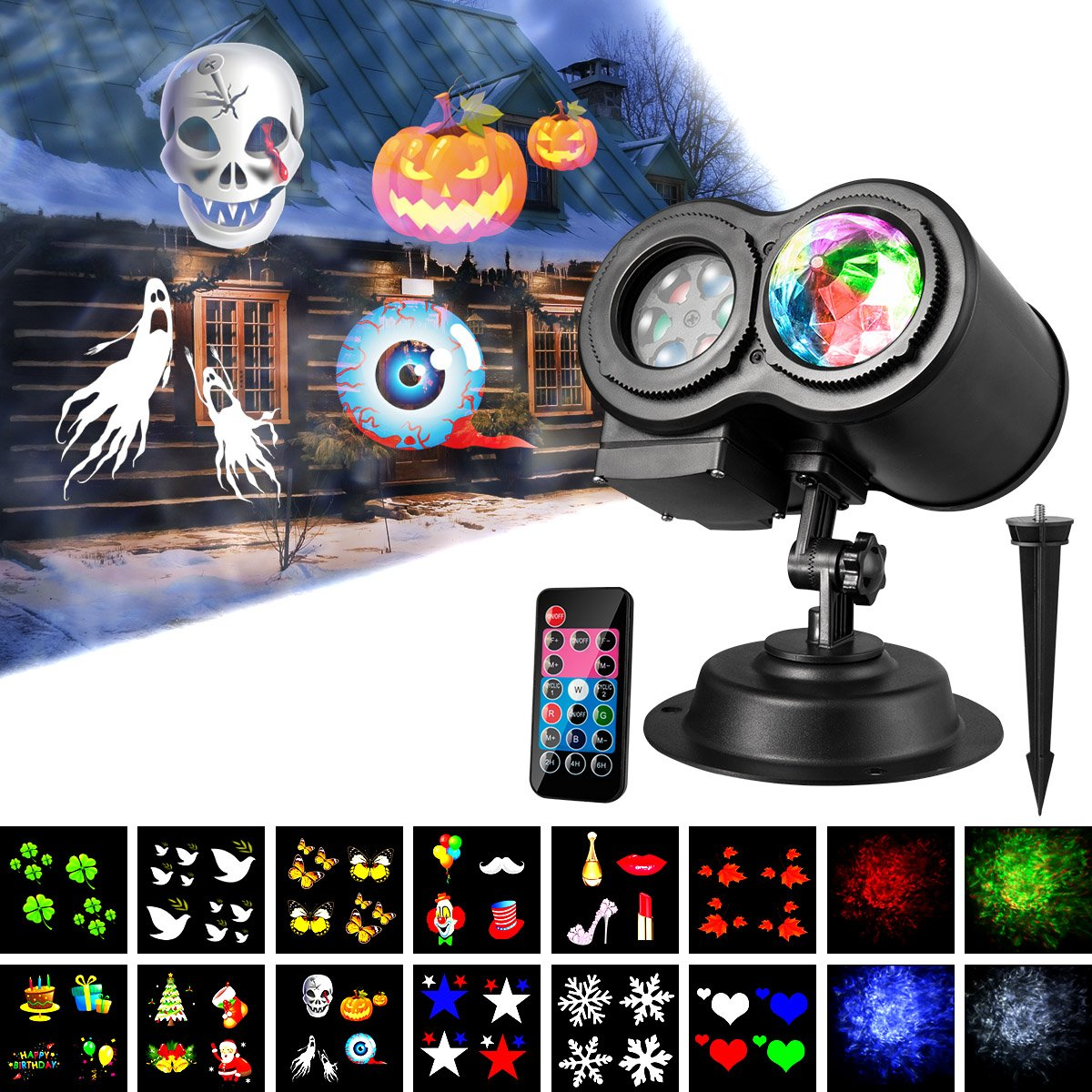 Halloween Light Projector,KingWill 12 Slides Pattem Wave Projector Light with Remote Controller for Outdoor Pattern and Wave Projector Light 2 in 1 Outdoor Party Lights Projector Landscape Lighting with Remote