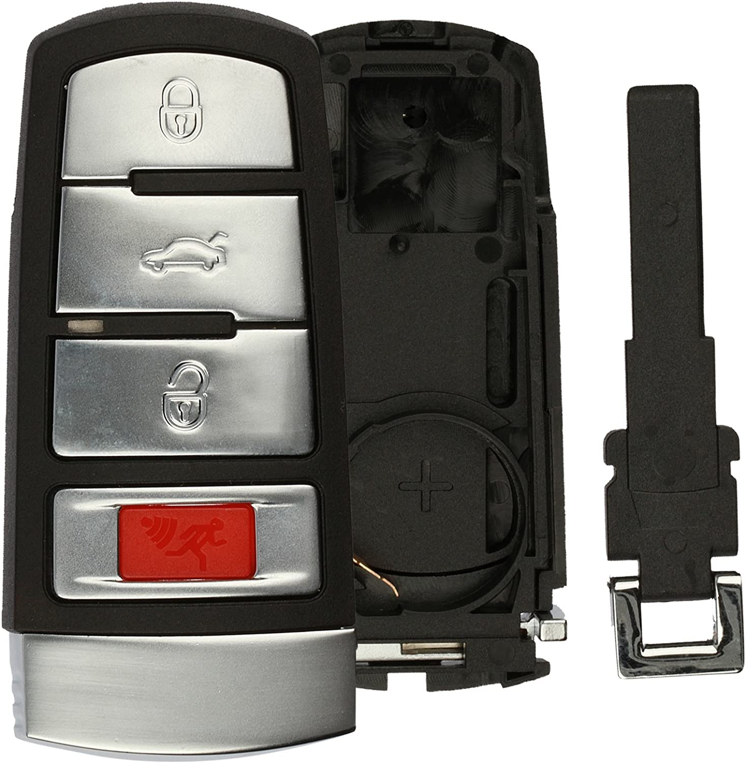 HLO3C0959752N Smart Key Fob Keyless Entry Remote Shell Case /& Pad fits 2006-2010 VW Passat
