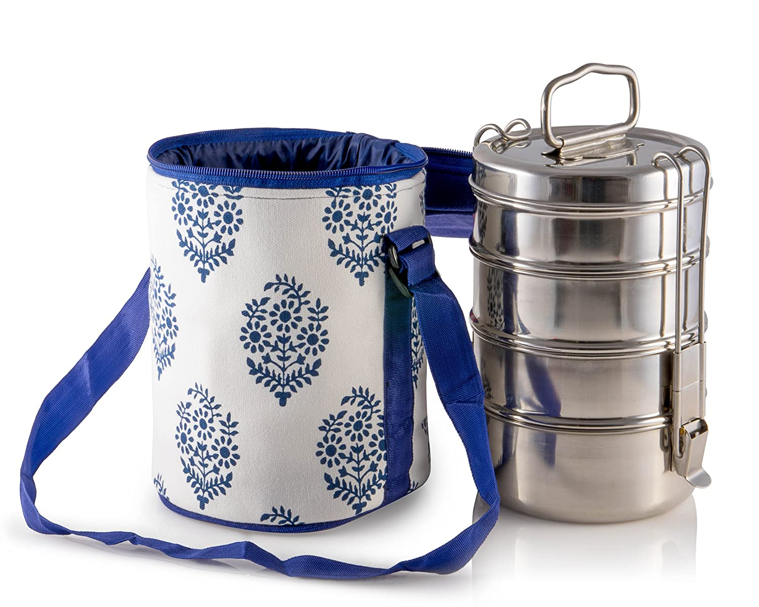 4 Tier Large Tiffin With Thermally Insulated Blue Patterned Tiffin Bag Carrier Indian Tiffin 4t8b4 & KAL_BLUF