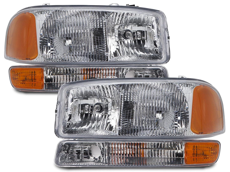 Headlights Depot Replacement for GMC Yukon/Sierra 4-Piece Headlights Set w/Park Signal Lights Left Right Pair Halogen Headlamps HeadlightsDepot GM2502188 GM2503188