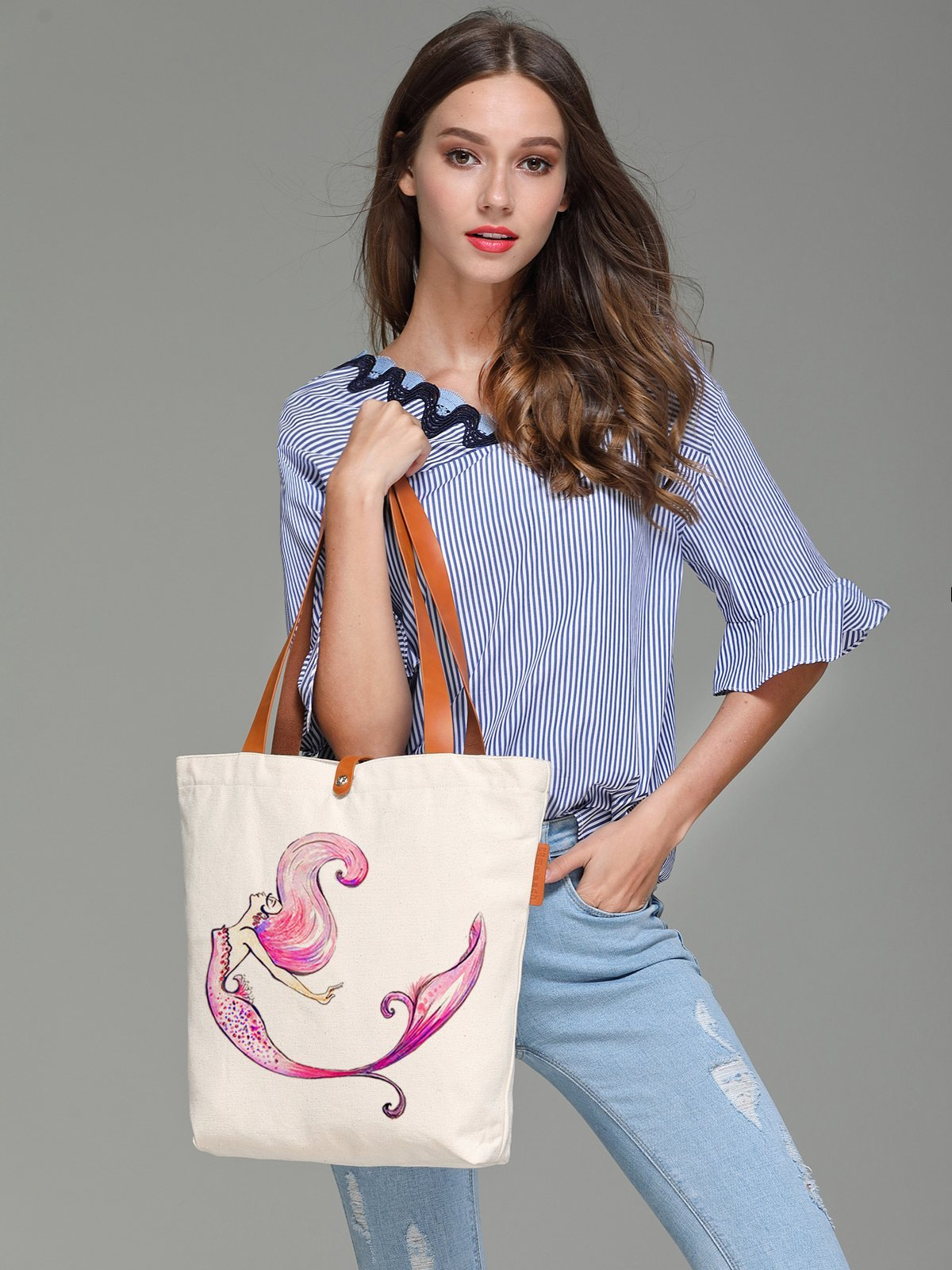 So'each Women's Colourful Mermaid Graphic Canvas Tote Shopper Shoulder Bag by So'each (Image #2)