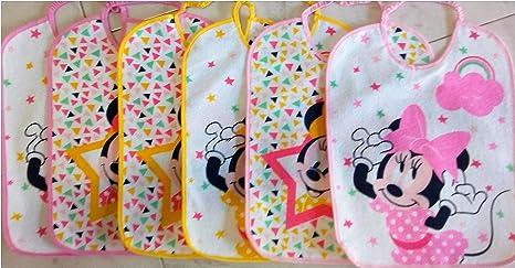Baberos – Babero – Babero – Bebé – Esponja plastificada Disney Minnie Pack de 6 unidades tamaño 27 x 22,6 Disney Minnie: Amazon.es: Bebé