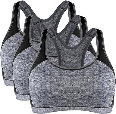 Vertvie 3 Pack Mujer Sujetador deportivo Bralette Push Up sin aros Bra para correr, correr, yoga, fitness 3 gris y negro. XL: Amazon.es: Ropa y accesorios
